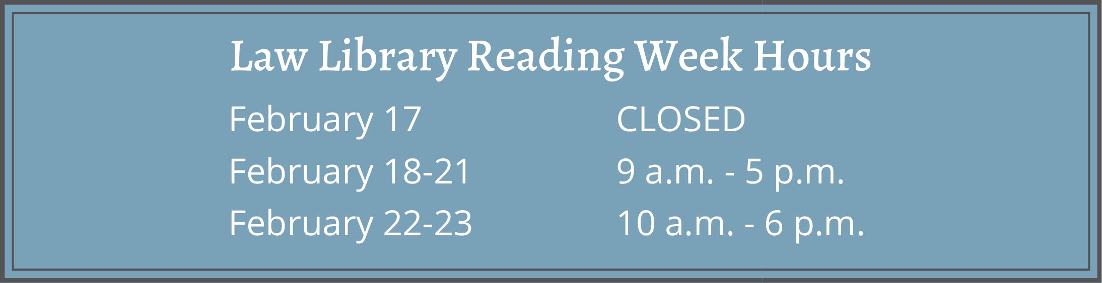Reading Week 2020