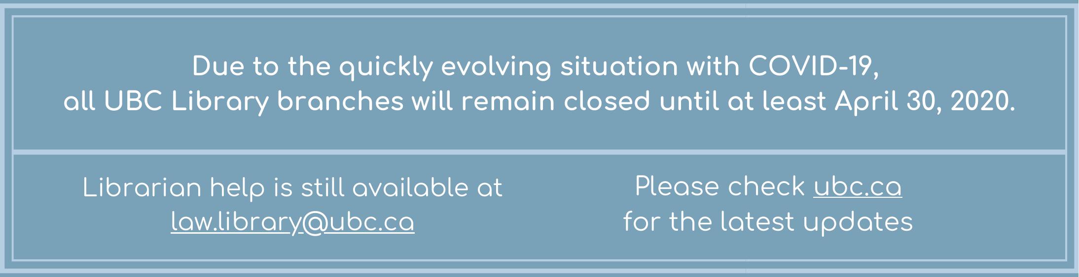 Special Closure (April 2020)